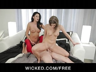 Wicked - Two stunning brunettes share one big-dick