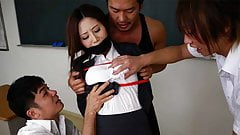 Three horny students have their way with stunning Japanese t