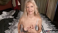 USAWives Horny older blonde granny Cindy stripping
