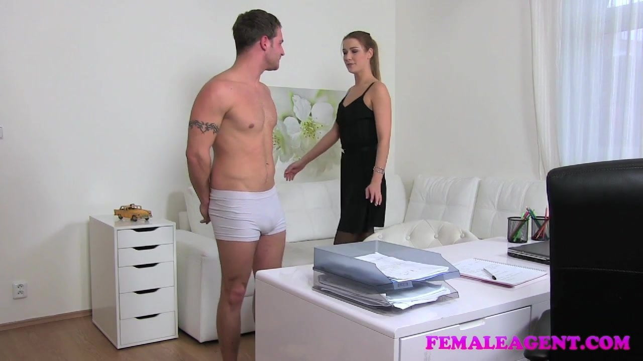 image Fake agent nervous young amateur with hot body sprayed