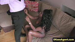 Ebony casting beauty deepthroating cock