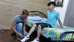 Asian bang buddies worship feet and breed smoothly