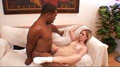 Black cock pounding brunette pussy