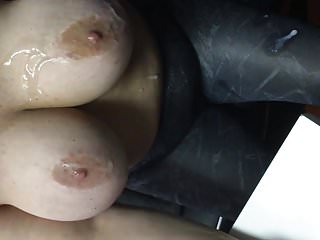Italia 40 G getting nutted all over her massive fking tits