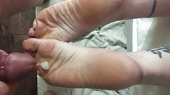 cumming on my wife's soles 3