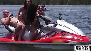 Teens Ride the Party Boat video starring Eva Saldana - Mofos