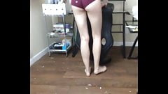 Bare foot teen in tiny shorts
