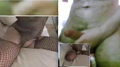Teaser t body fishnet gets C2C Skype dude to cum