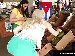 Asian Latina Cristi Ann Stuffs Her Muff With Angelina Castro