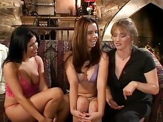Joys of lesbian sex - Mature blonde joins two young lesbians for hot sex
