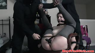 Small tit sub tied up and toyed by duo