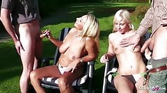 Mother and Step Daughter Public Foursome in Garden German