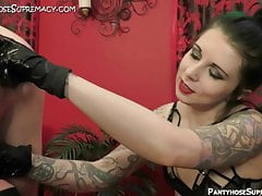 Femdom Mistress Eden in bisex domination of male slaves