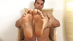 Brazilian muscle stud showing off his perfect soles