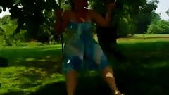Clotilde on her swing