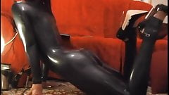 taking on a catsuit and high heels