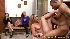 Girls take their turns sucking muscular strippers big cock