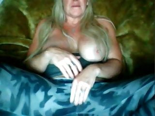 Friend's mom shows tits and masturbates for me