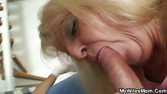 Blonde old granny rides his big dick