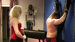 Caning punishment by blonde mi