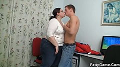 Chubby big belly teacher seduces him for play