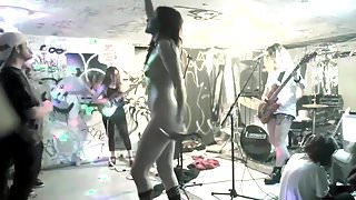 sexy rock singer nude on stage club concert