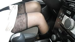 Driving car in stockings