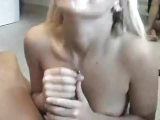 Tiny blonde drains a big cock
