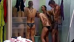 Big Brother NL Hot Blonde Teen Girl shower after wrestling