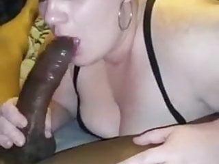 Ugly chubby slut gagging big black cock