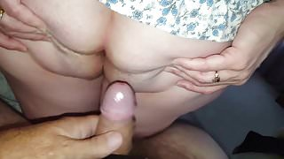 rubbing my knob on her hairy asshole