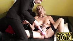 Horny british mature Molly masturbates with hitachi wand