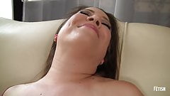 Horny BBW with big boobs fingering her pussy on the couch