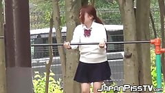 Panties become really wet after Japanese babe pisses herself