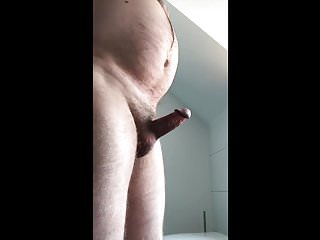 mature exhibitionist - bathroom erection