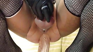 Fucked with huge turgid dildo with fucking in chastity