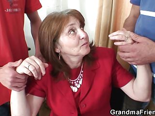 Hot threesome in the office with old granny