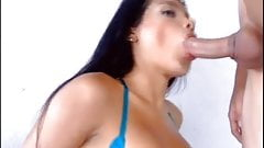 Horny shemale gets fucked by big dick inside her butthole