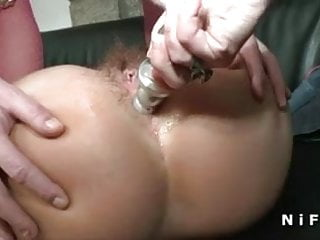 Casting of hairy french mature getting her ass plugged