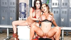 Jessica and Nikki take gigantic cock in their wet holes