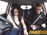 Fake Driving School wild ride for petite british Asian