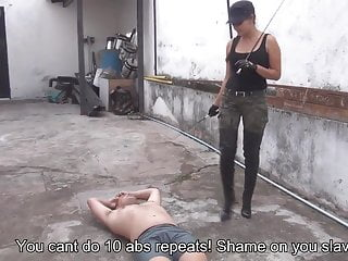 Slave get trained by personal whipping trainer