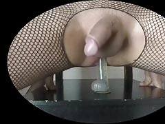 fishnet and dildo on the chair 2