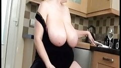 Pretty mom with mega-giant huge boobs play with cunt