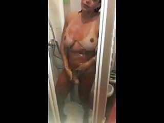 Perfect tits and cock in the Shower