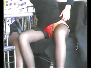 Flashing stocking-tops in a coffee shop