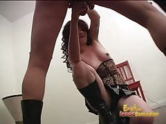 Foxy brunette looker tramples all over a hung dudes pierced's Thumb