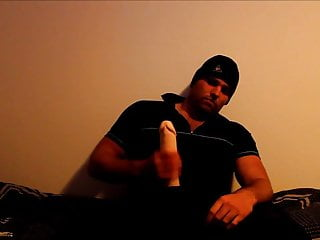 J-Art male solo with hat and 12 inch cock dildo at night