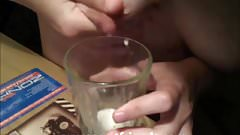 Girl lactating and drinking milk