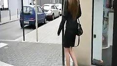 Naughty cumlover Secretary walking in high heels in public